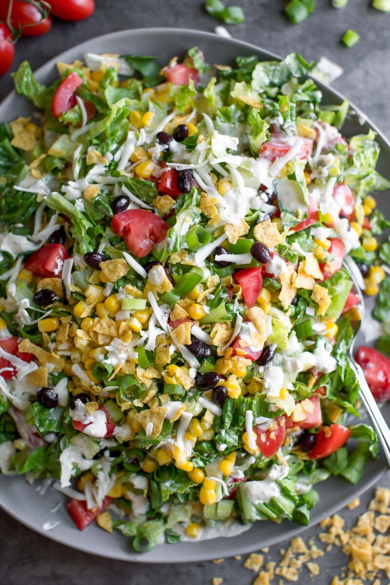 Crunchy Southwest Chopped Salad with Crushed Tortilla Chips and Jalapeño Ranch Dressing