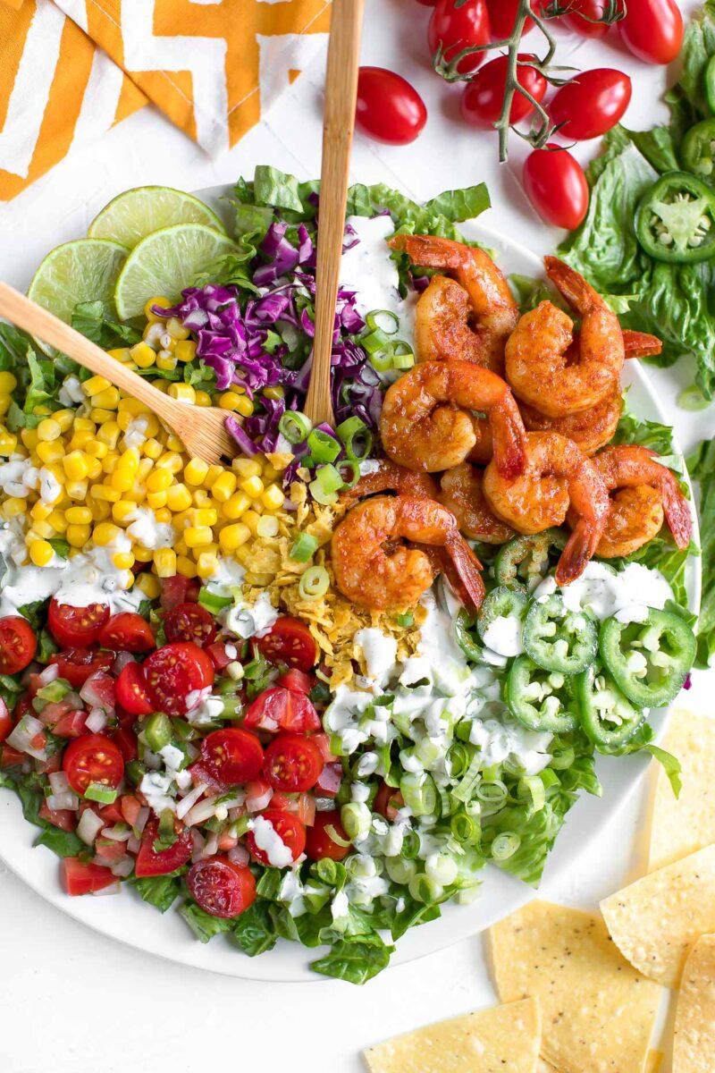 Shrimp Taco Salad Bowl with Homemade Ranch Dressing