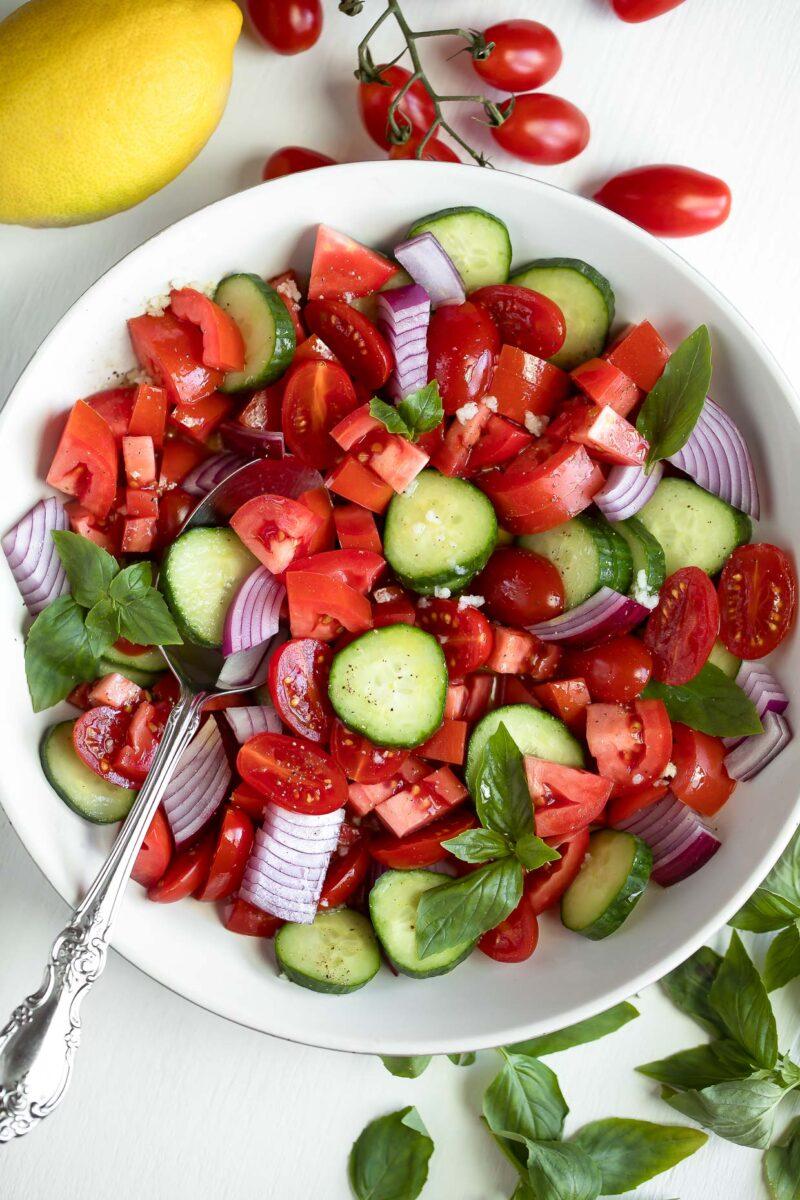 Balsamic Tomato Salad Bowl With Tomatoes and Basil