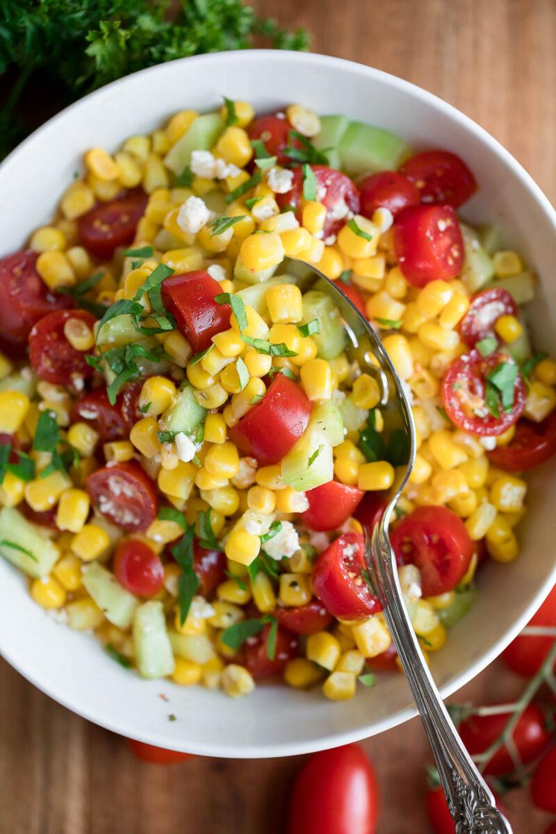 Corn and Tomato Salad Bowl with Basil and Feta