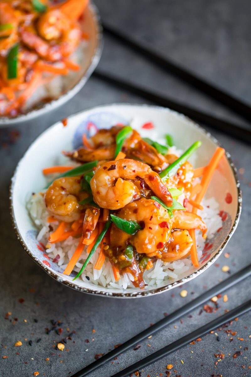 Honey Garlic Shrimp Bowls with Carrots, Scallions, and Red Pepper Flakes
