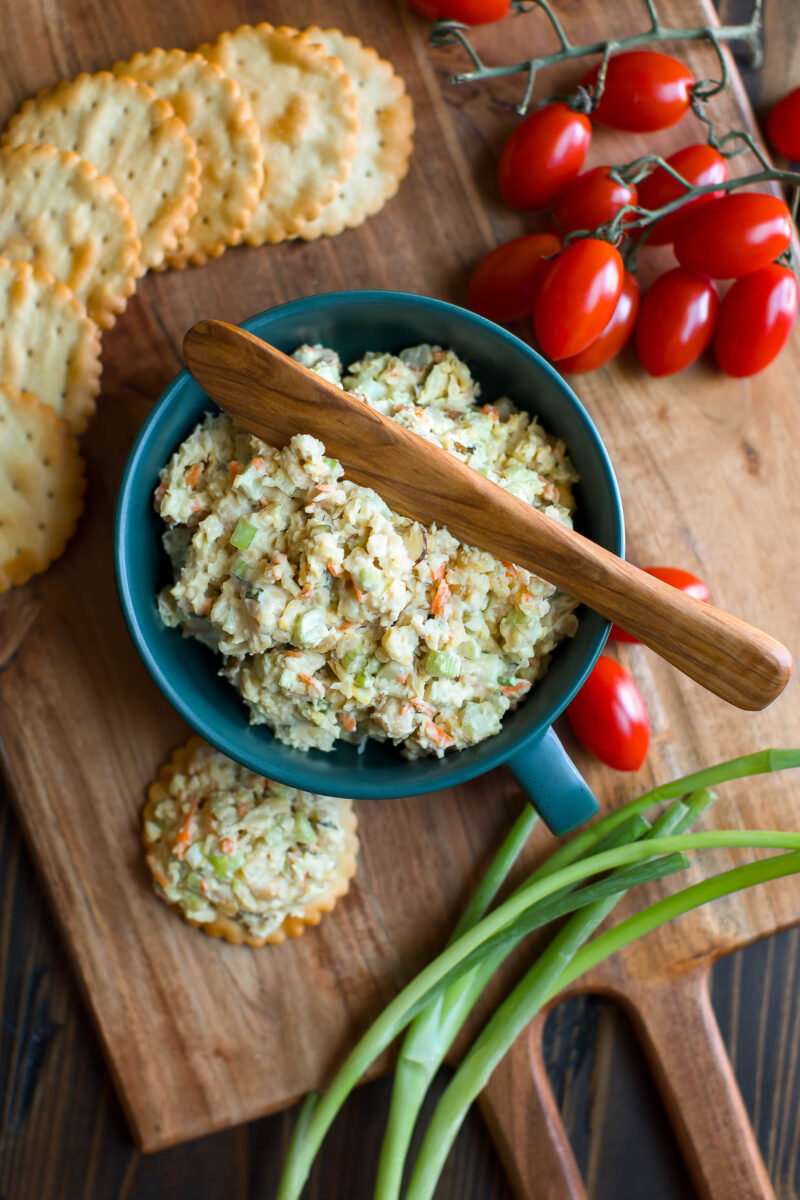 Mashed Chickpea Salad with Crackers