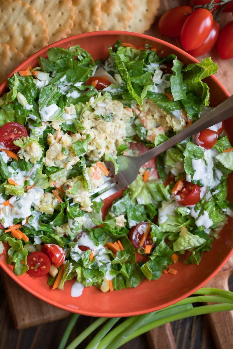 Mashed Chickpea Salad on Lettuce with Veggies