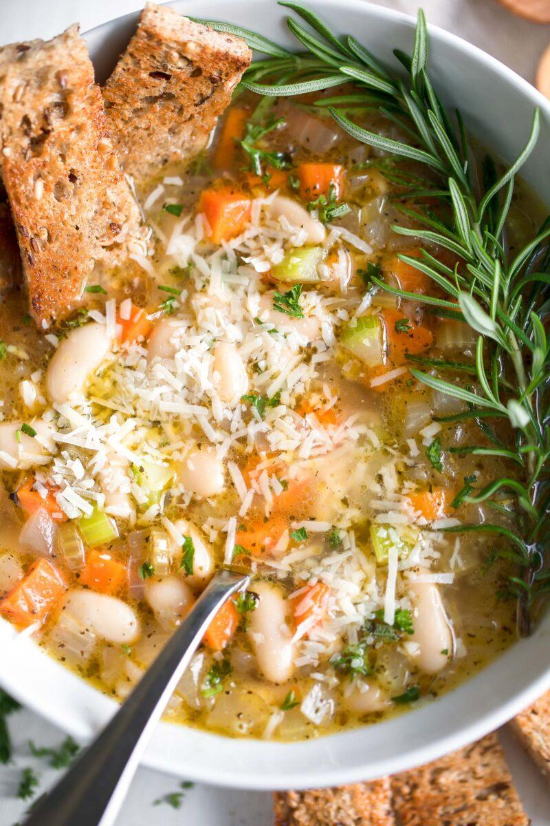 Mediterranean White Bean Soup with Parmesan