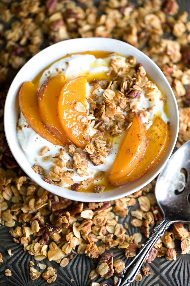 Roasted Peach Yogurt Bowl with Granola