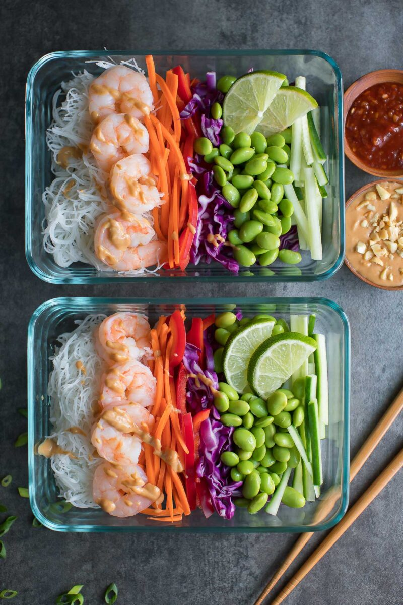 Shrimp Spring Roll Bowls Meal Prep Containers