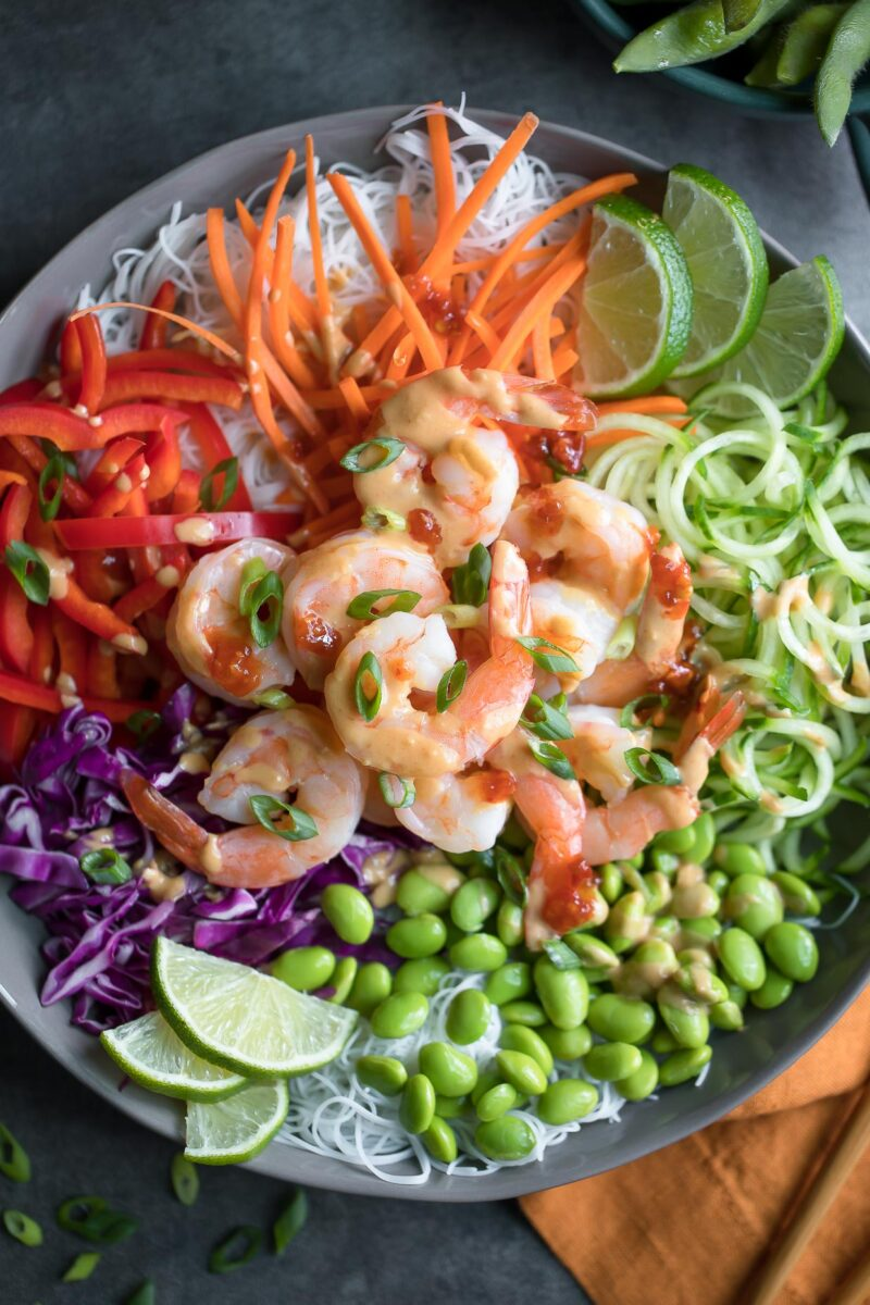 Shrimp Spring Roll Bowls with Peanut Dressing and Chili Garlic Sauce