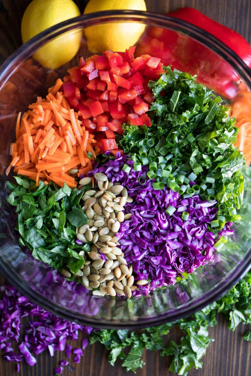 Veggie Chopped Kale Salad Ingredients