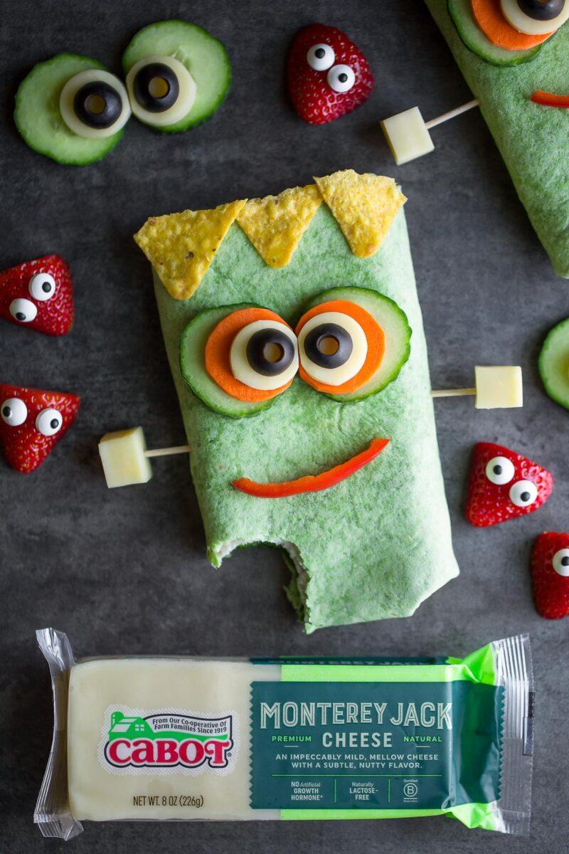 Frankenstein Halloween Sandwich Wraps with Cabot Monterey Jack Cheese