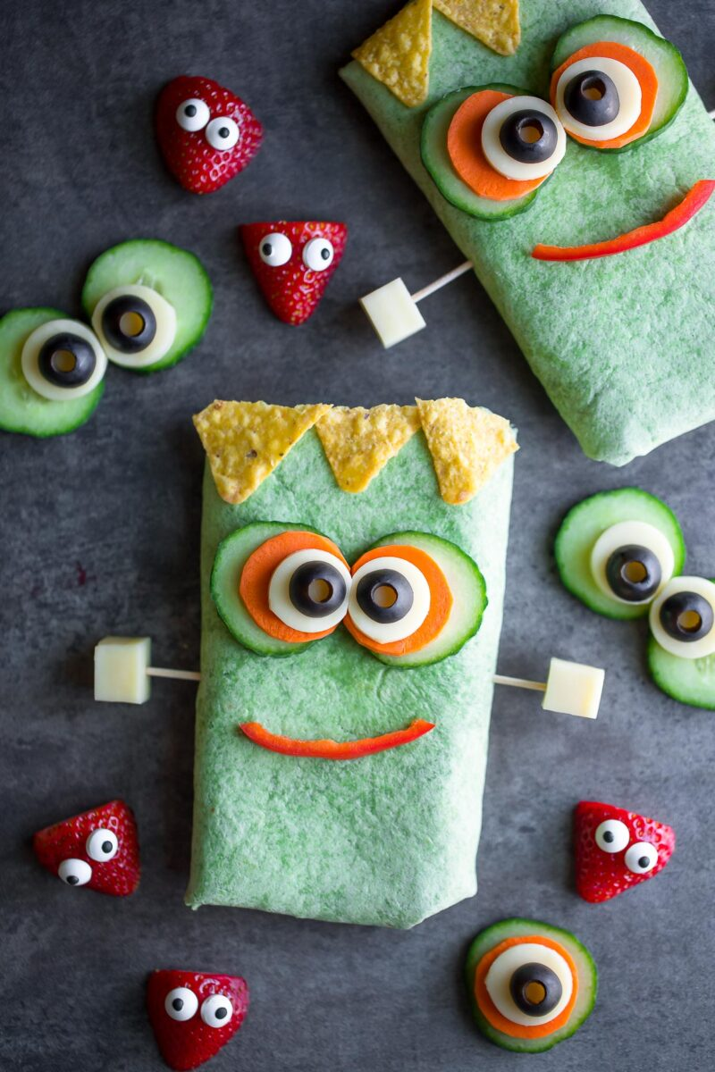 Monster Sandwich Wraps with Strawberries and Eyeballs