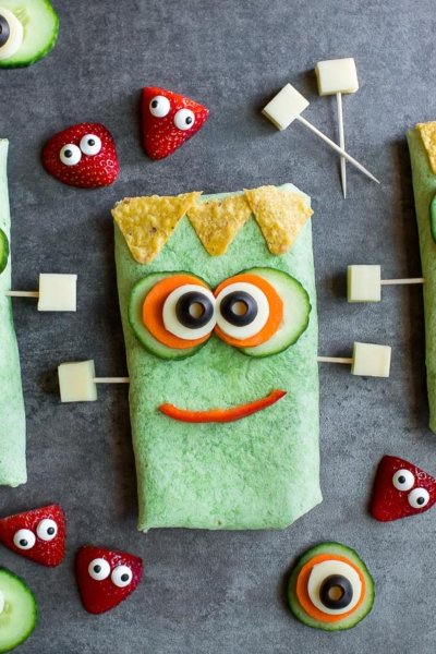 Frankenstein Halloween Sandwich Wraps