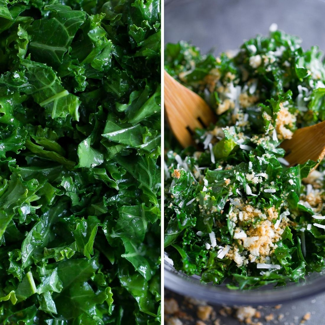 Lemon Parmesan Kale Salad Collage