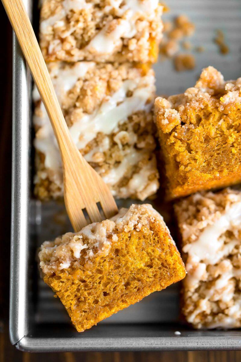 Pumpkin Coffee Cake with Cinnamon Sugar Streusel and Vanilla Icing