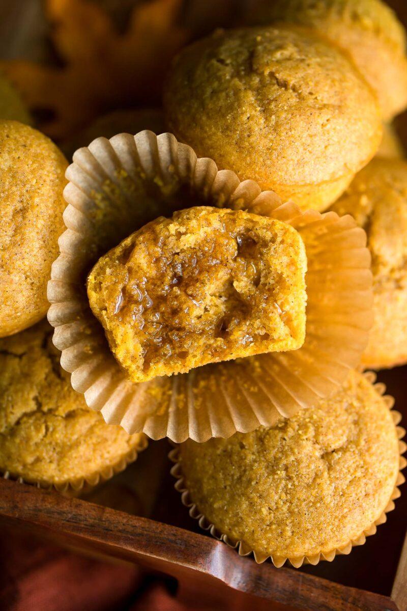 Pumpkin Cornbread Muffins with Honey