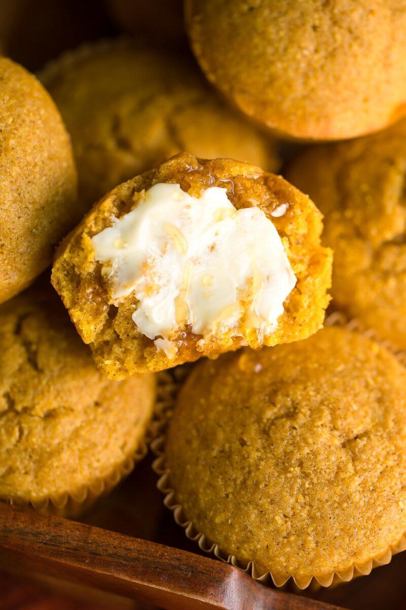 Pumpkin Cornbread Muffins with Honey Butter