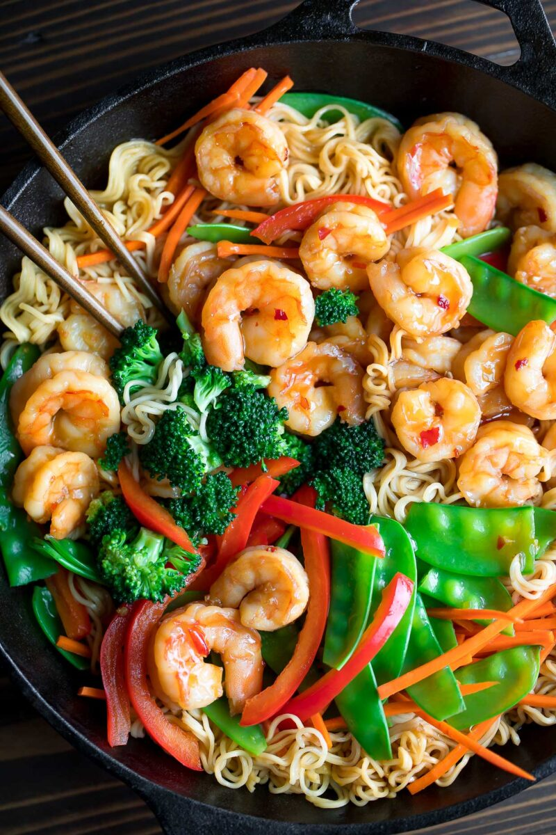 Shrimp Stir Fry with Ramen Noodles