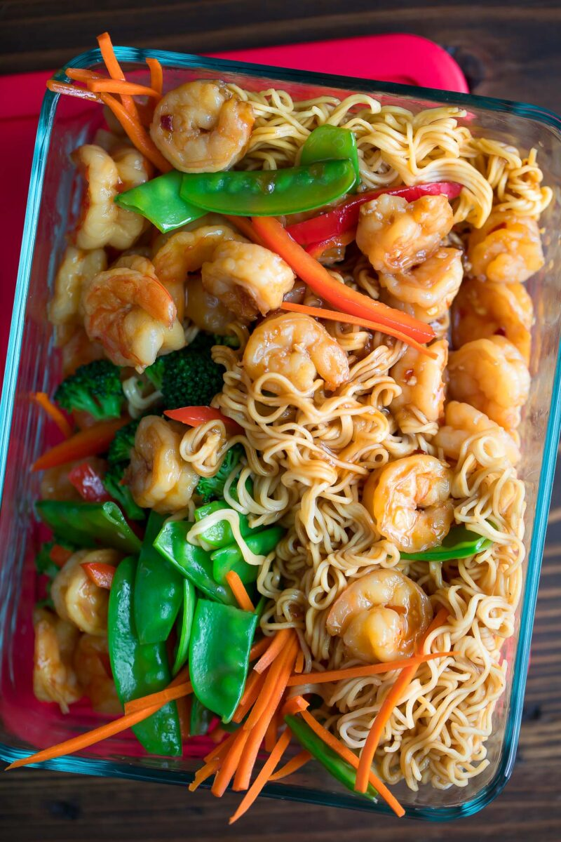 Shrimp Stir Fry and Ramen in Meal Prep Container