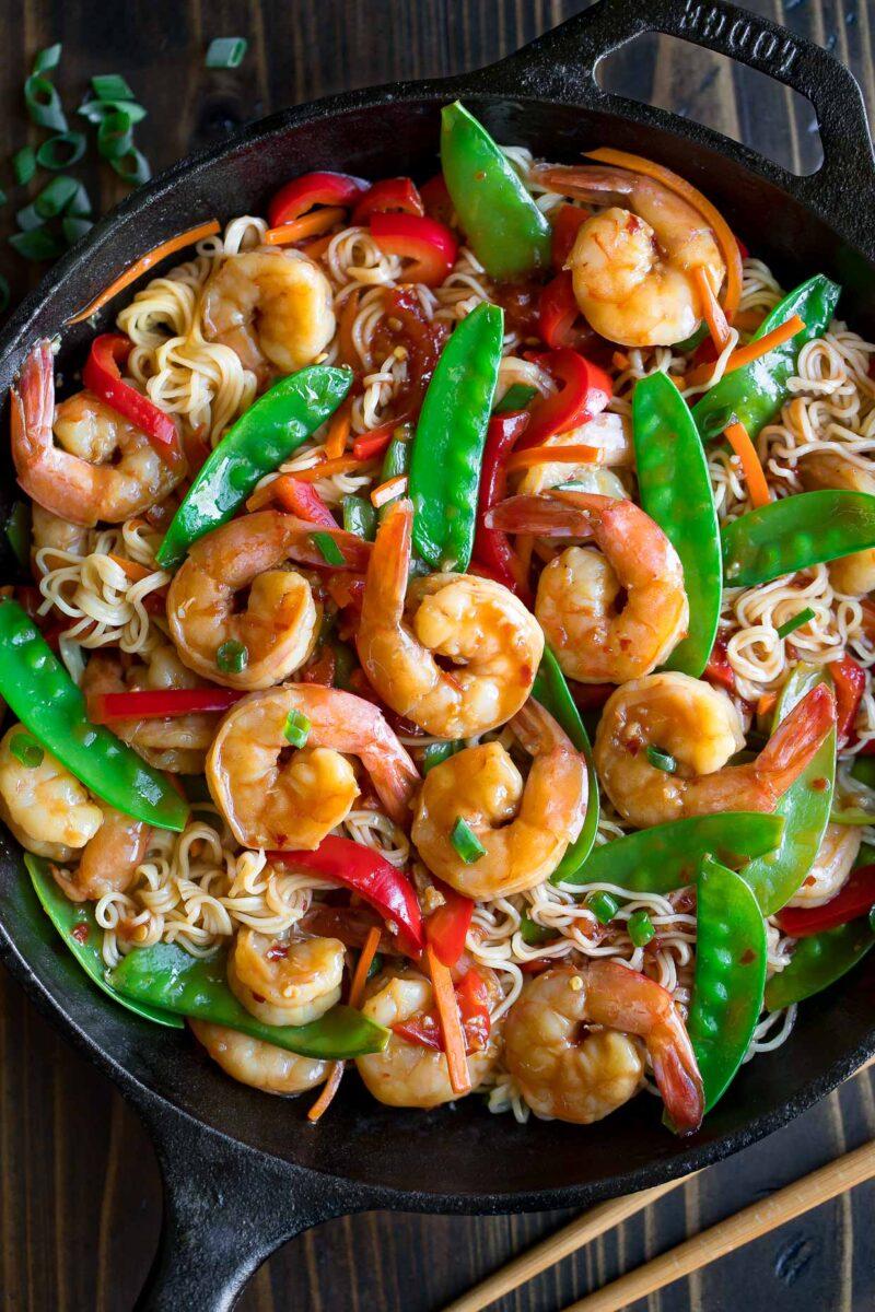 Shrimp Stir Fry Skillet with Noodles and Veggies