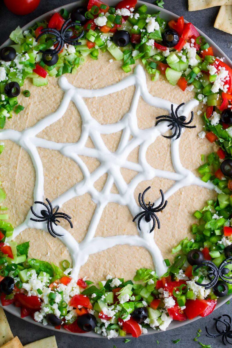 Layered Halloween Hummus Dip with Greek Yogurt Spider Web