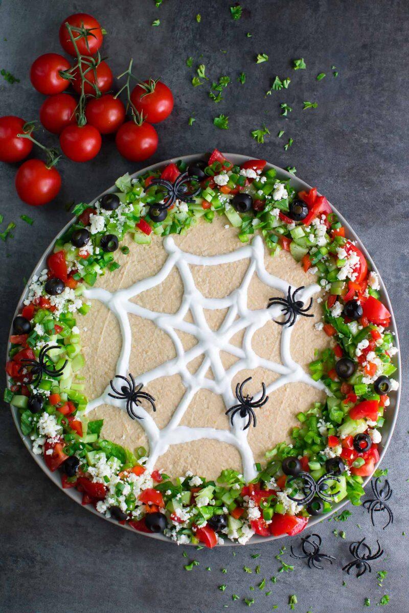 Spooky Spider Web Halloween Hummus Dip