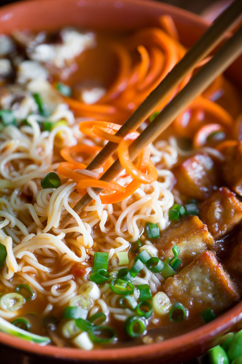 Tofu Ramen Bowls with Carrot and Zucchini Noodles