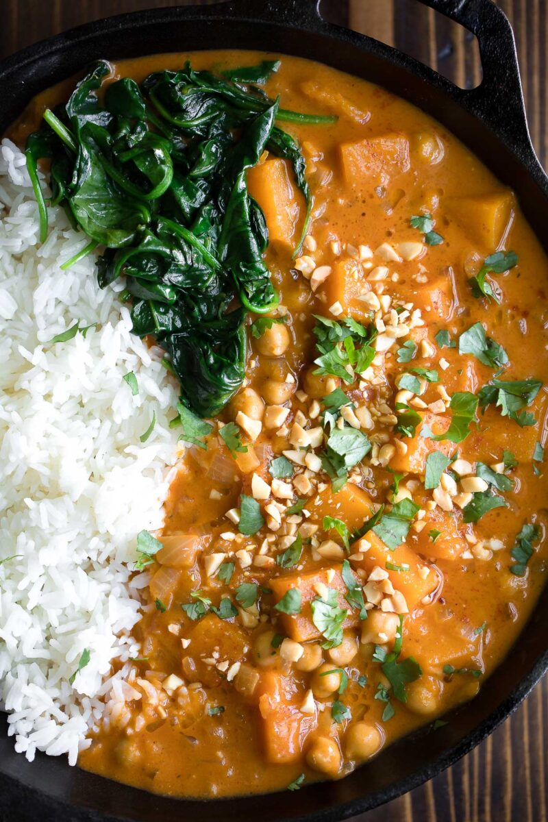 Chickpea and Butternut Squash Curry with Spinach and Rice