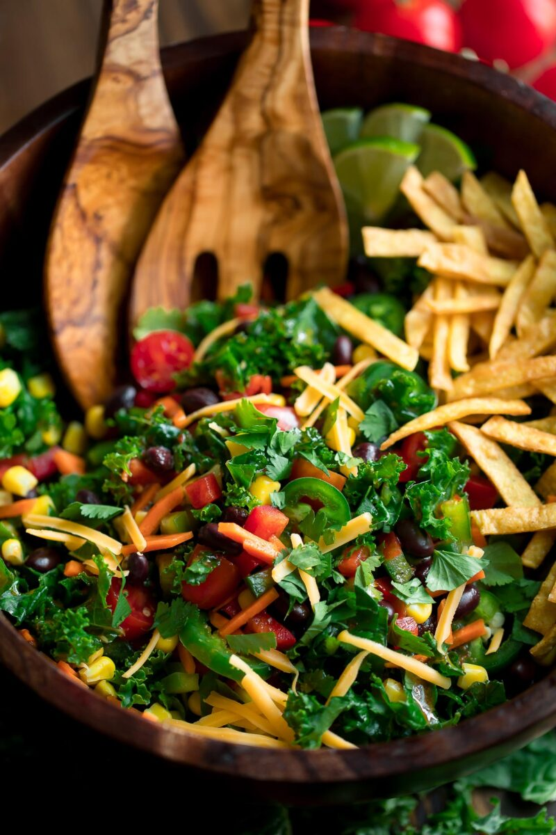 Kale Taco Salad with Black Beans and Crispy Roasted Chickpeas