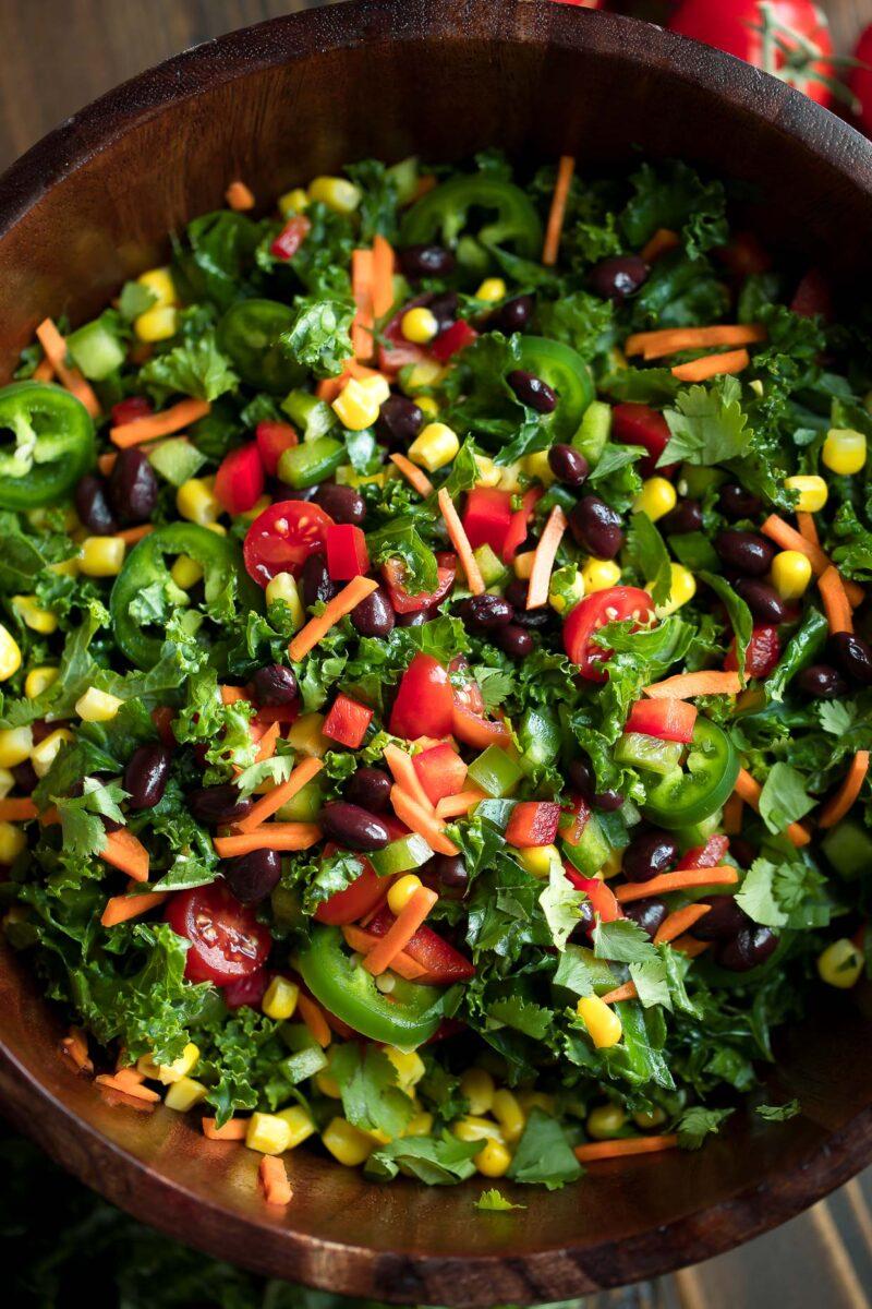Vegetarian Kale Taco Salad Bowl