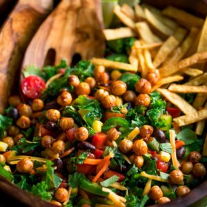 Kale Taco Salad with Crispy Roasted Chickpeas