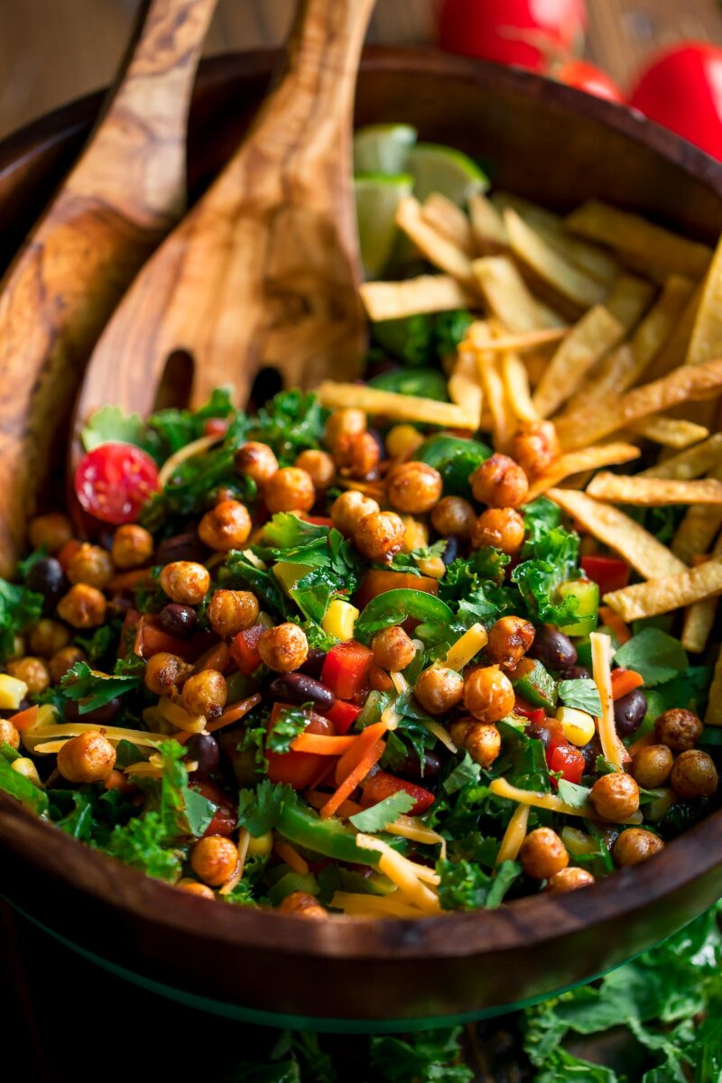 Kale Taco Salad with Crispy Roasted Chickpeas and Crispy Tortilla Strips