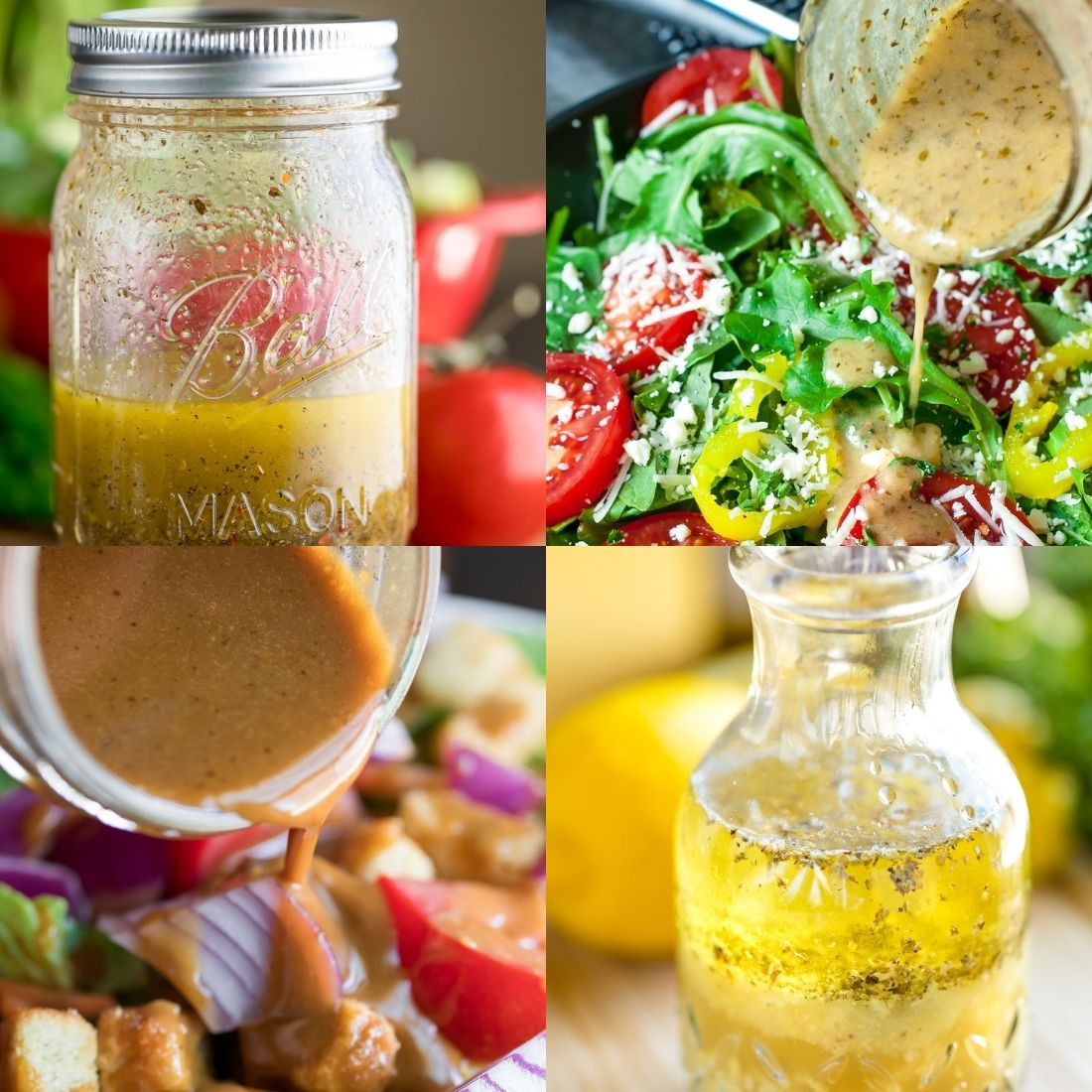 Side Salad Homemade Dressing Options Collage