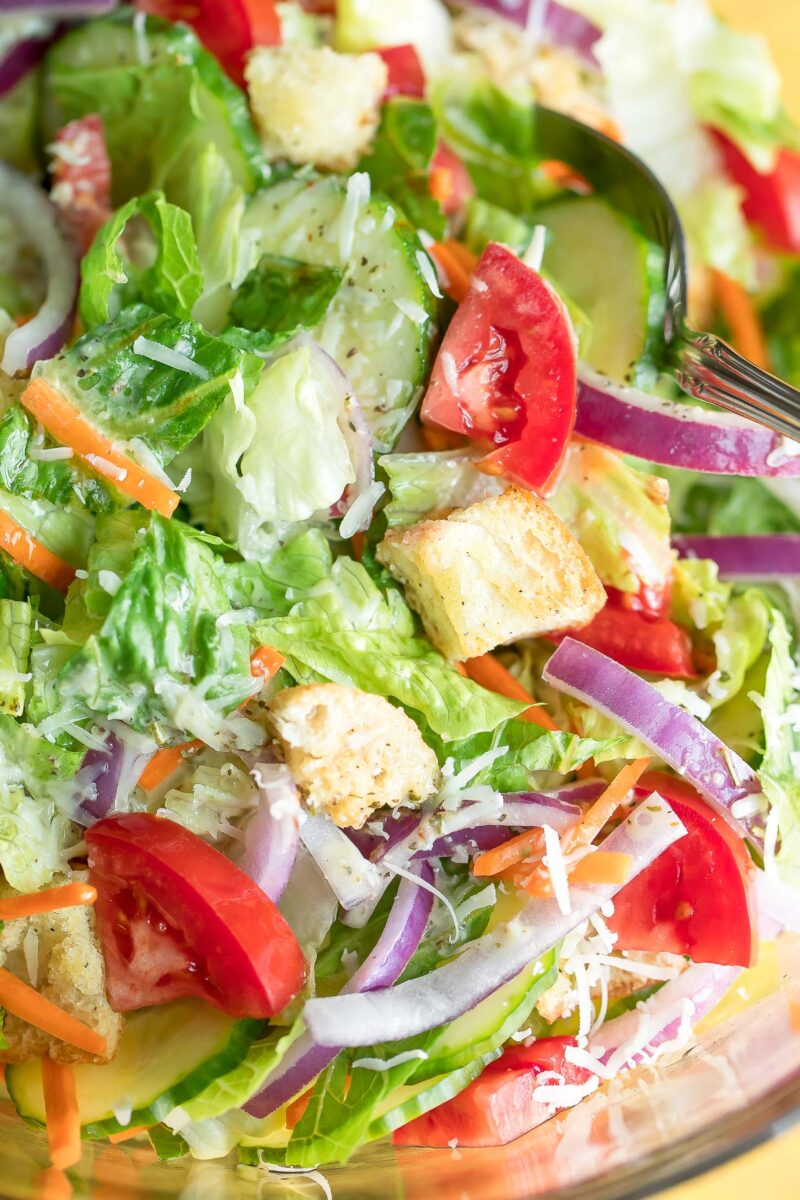 Easy Garden Side Salad with Veggies and Croutons
