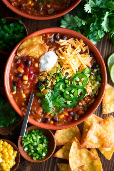 Vegetarian Enchilada Soup with Beans and Rice