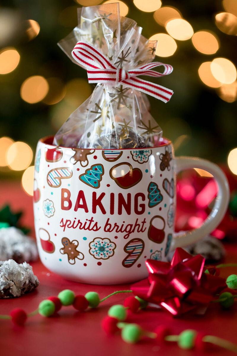 Chocolate Crinkle Cookies Holiday Gift in Mug