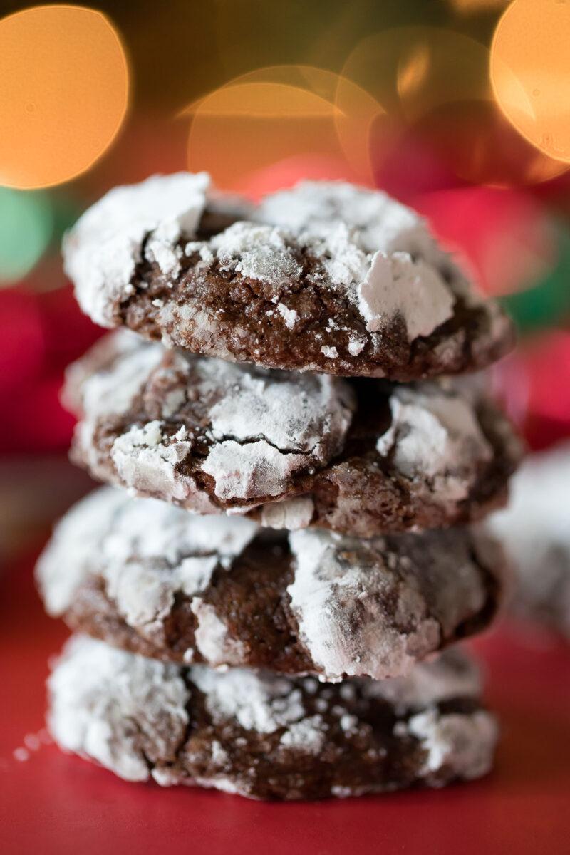 Snowy Holiday Brownie Crinkle Cookies