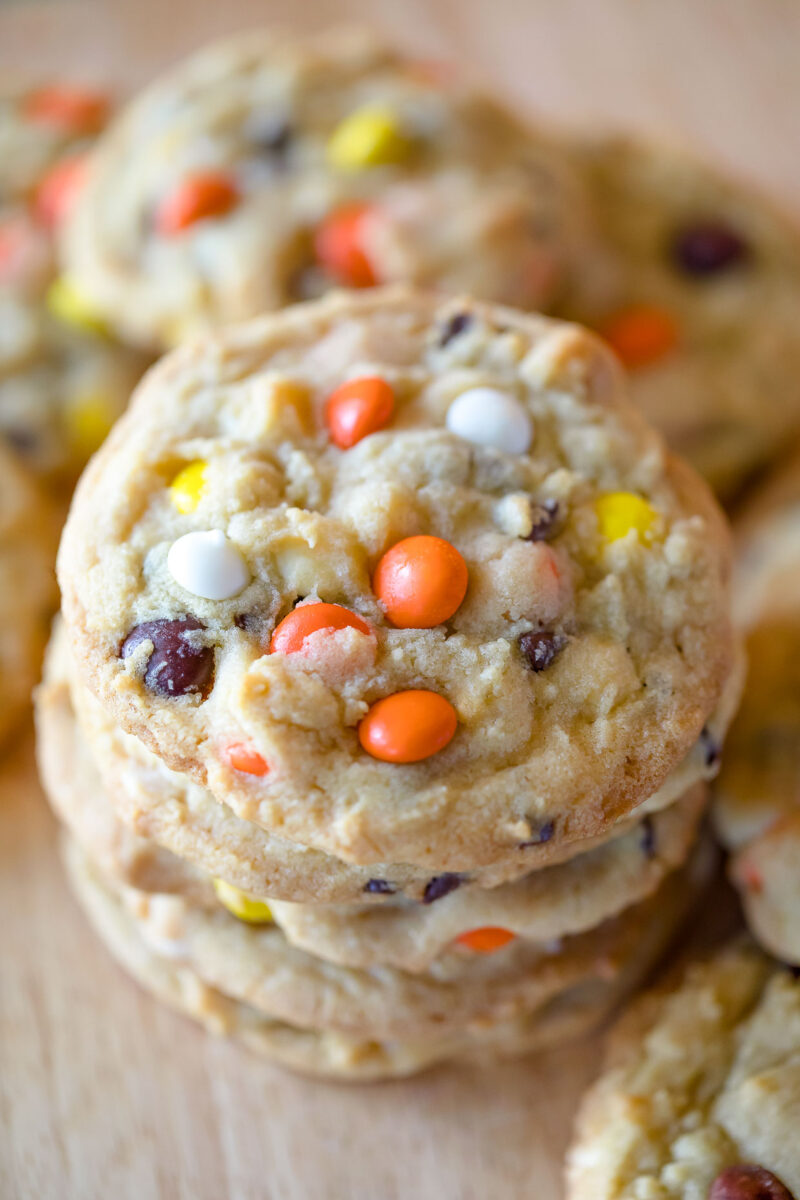 Reeses Pieces Chocolate Chip Pudding Cookies
