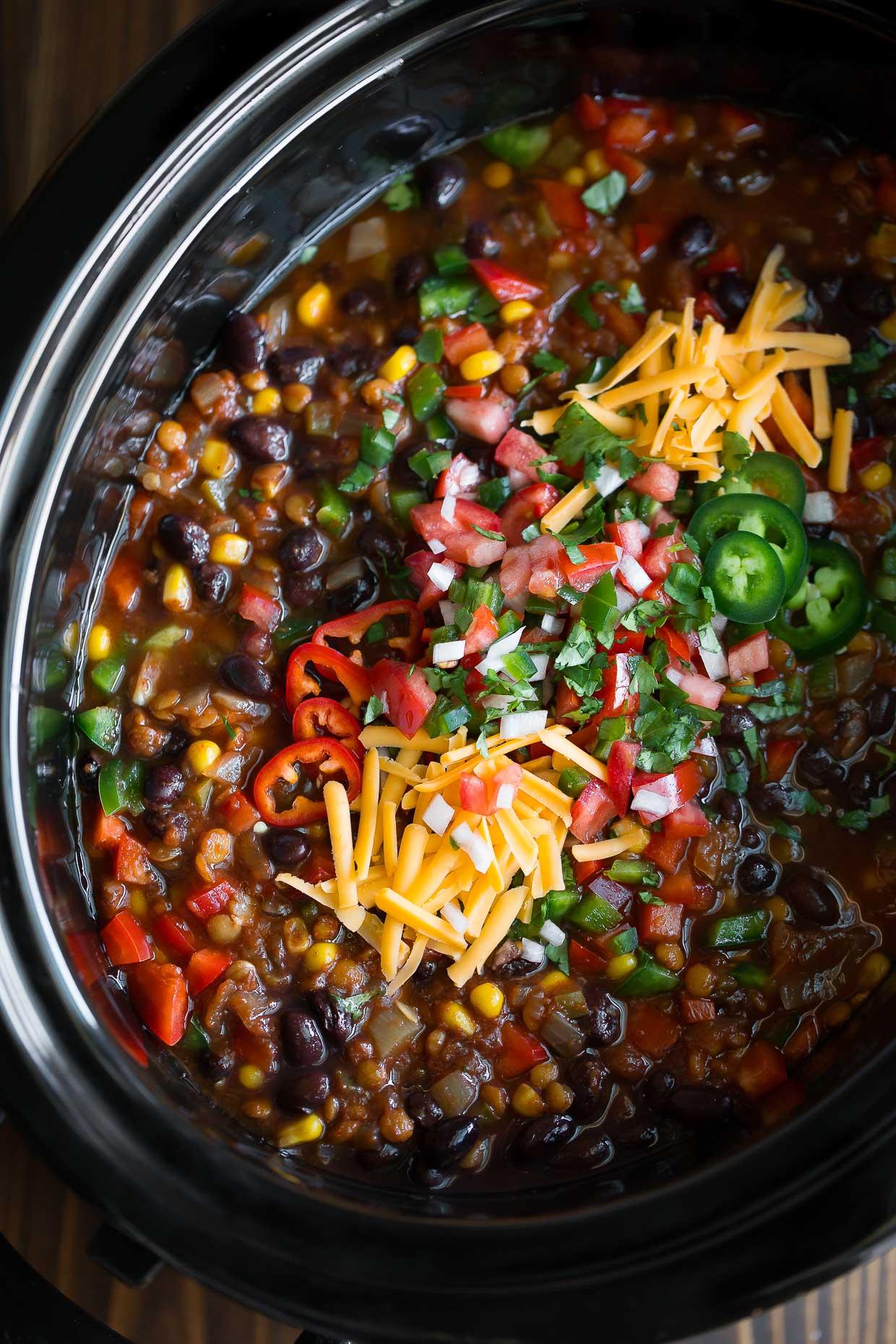 Slow Cooker Lentil Taco Chili Vegan Vegetarian