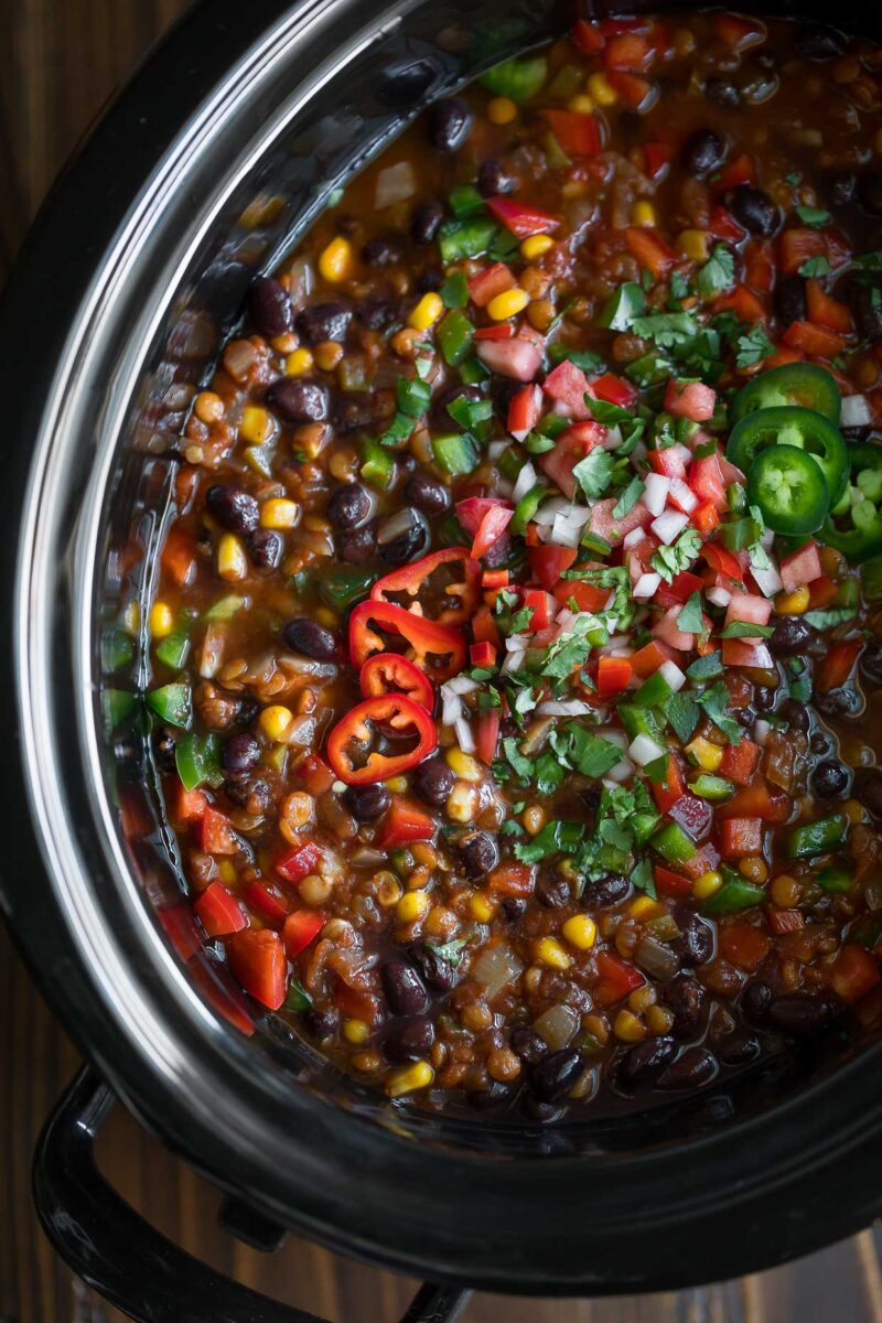 Taco Lentil Chili in Slow Cooker