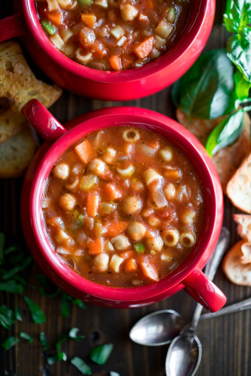 Vegetarian Chickpea Minestrone Soup Bowls