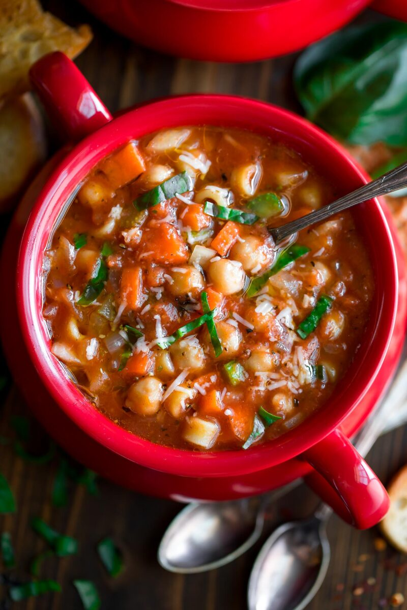 Chickpea Minestrone Soup Bowl Closeup