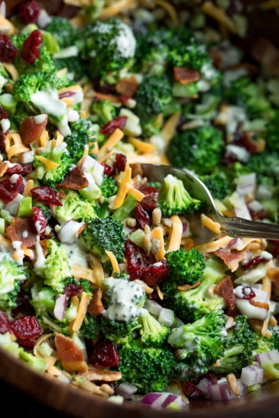 Classic Broccoli Salad with Cranberries and Bacon