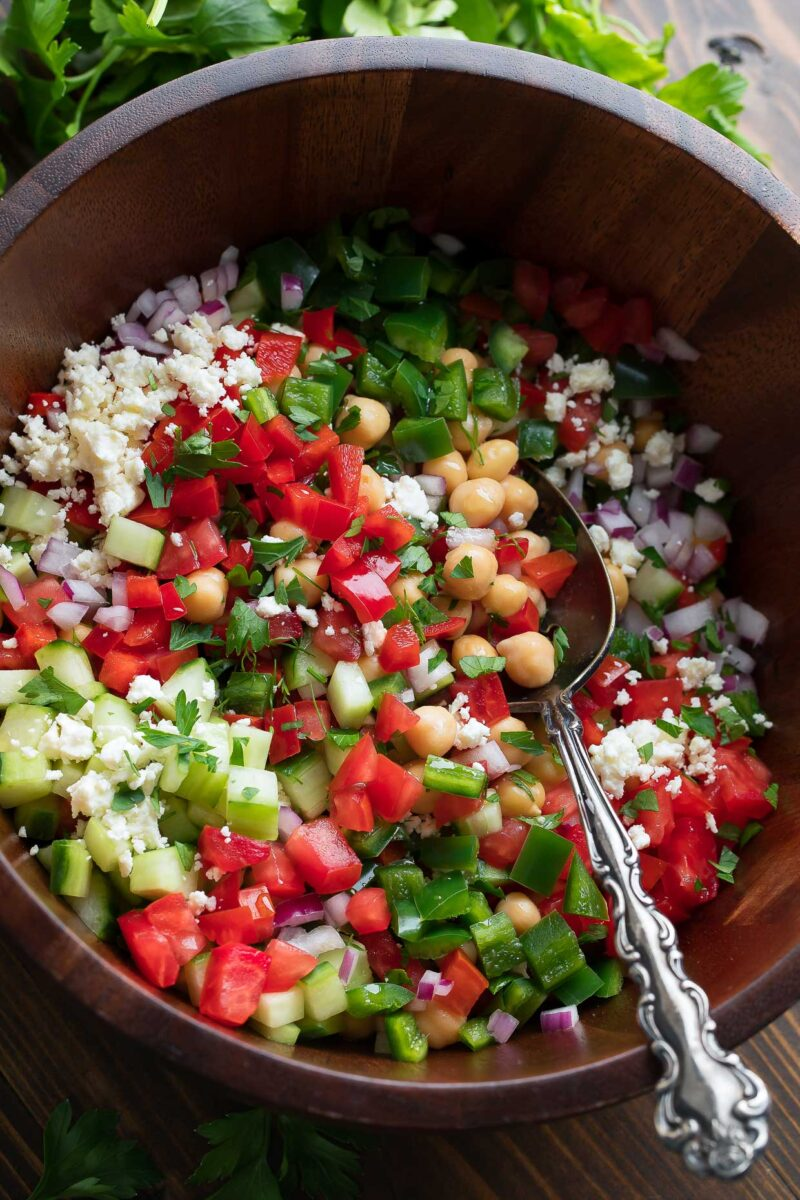 Mediterranean Chickpea Salad Bowl with Feta, Dill, and Parsley