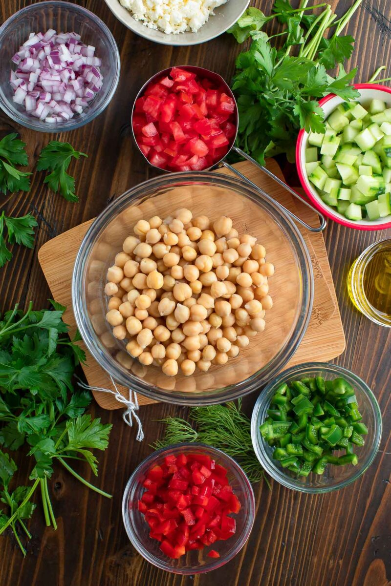 Chickpea Chopped Salad Ingredients in Bowls