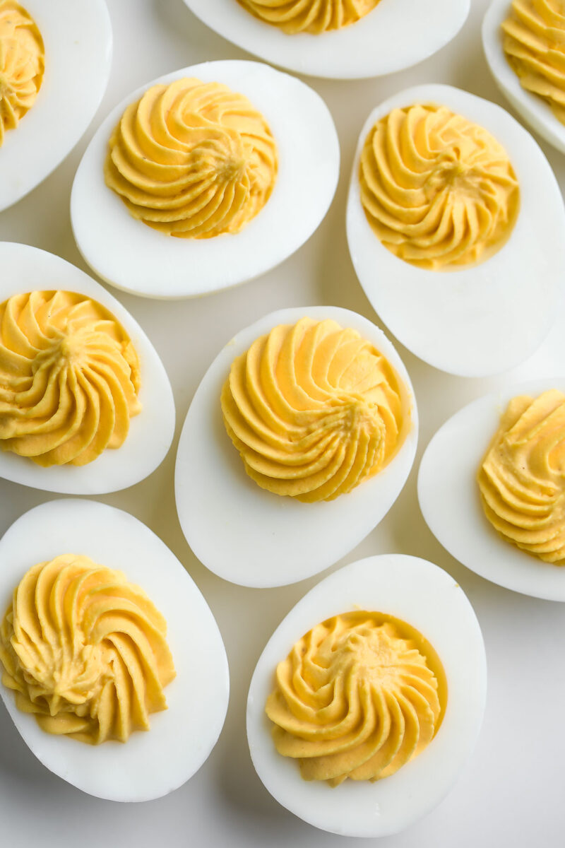 Easy Deviled Eggs with Decorative Piped Yolk Filling