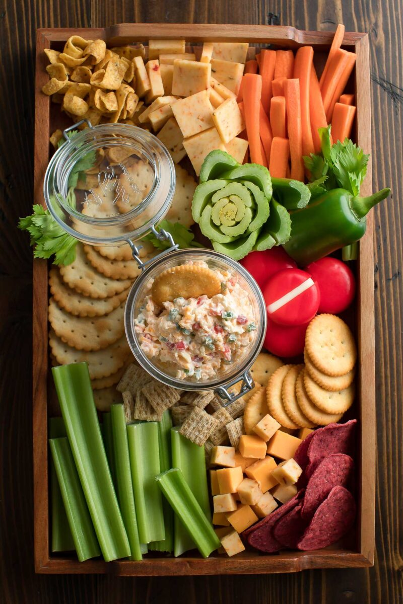 Jalapeño Pimento Cheese with Crackers and Veggies - Cheese Board