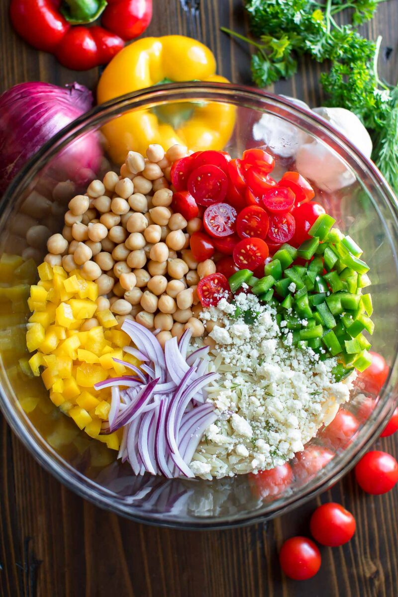 Summer Orzo Salad Bowl Ingredients