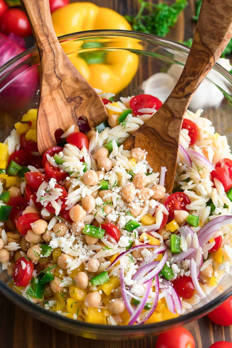 Summer Orzo Salad with Chickpeas and Feta
