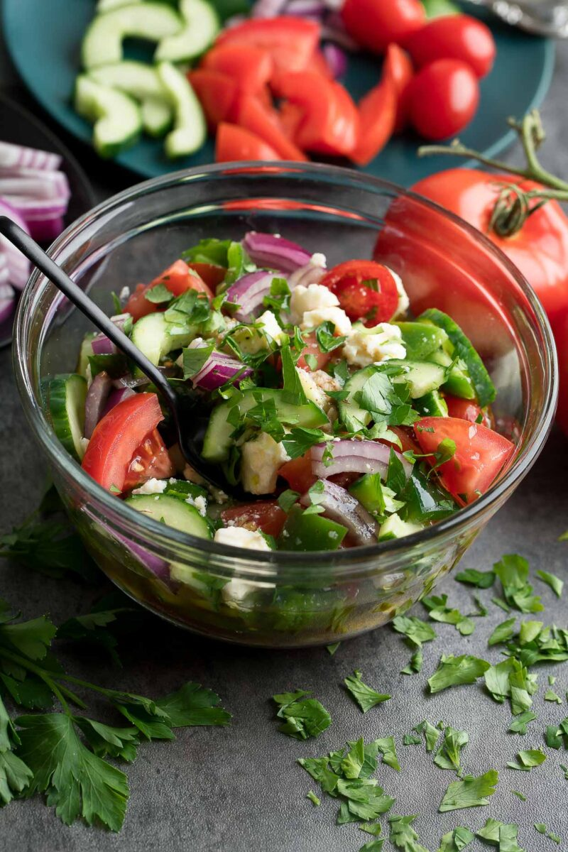 Marinated Greek Salad Bowl - Salad and Marinade