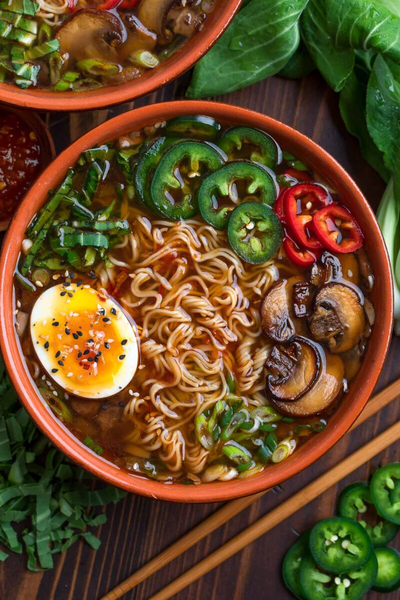 Veggie Ramen Soup with Toppings and Soft Boiled Egg