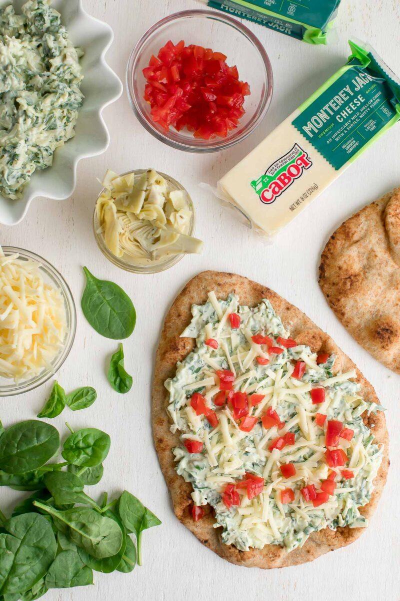 Spinach Artichoke Flatbread Pizza